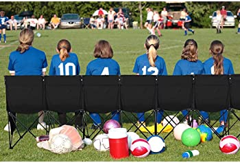 Yaheetech Portable 8 Seats Sports Bench Sits Team Sports Sideline Bench Outdoor Waterproof w/Side Bag & Back