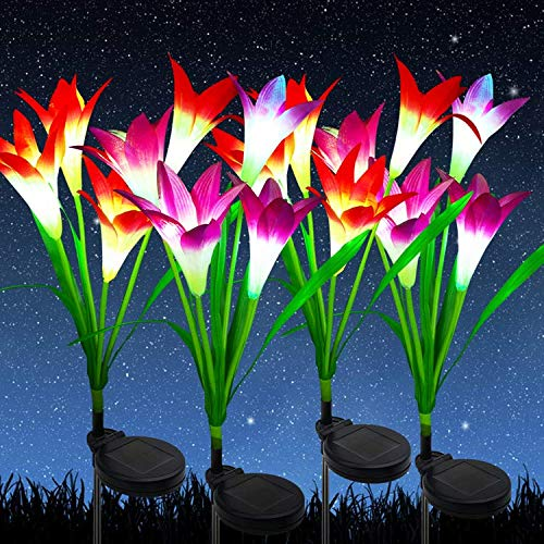 Outdoor Solar Garden Stake Lights, [4 Pack] Solar Flower Lights with 16 Bigger Lily Flowers Garden Lights Solar Powered Multi-Color Changing Solar Garden Lights Outdoor Decorative for Patio,Yard