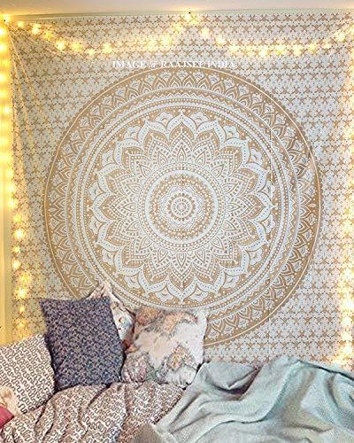 Beyond Dreams® Wand Dekoration | Mandala | Boho Schmuck | Design Tuch | Wandteppich | Stimmungsvolle Deko | Träume | Wandbehang (White Gold)