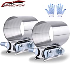 "SPEEDWOW 2.5"" Butt Joint Exhaust Band Clamp Sleeve Stainless Steel 2 Pieces"
