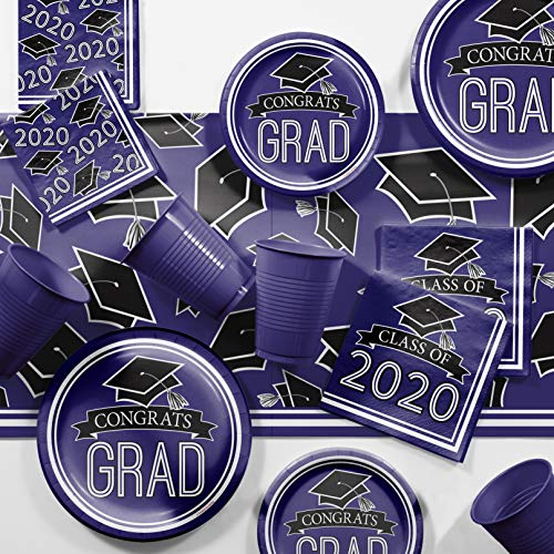 Graduation Class of 2020 School Spirit Purple Deluxe Party Supplies Kit, Serves 36