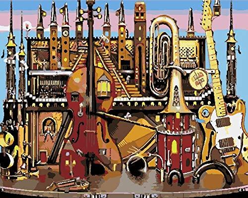 5D pintura de diamantes adultos Kit-Casa y gran instrumento musical.-Cristales para punto de cruz diamond painting decoración del hogar decoracion pared salon Regalo de halloween 30 x 40 cm