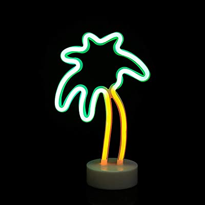 LED Kokosnussbaum Neonlicht Schild, ZVO Neon Light Wandleuchte Zeichen Innen, Batterie/USB Wandkunst Leuchtreklame Decoration Schreibtisch Nachtlicht für Weihnachten Kinder Schlafzimmer Wohnzimmer Bar