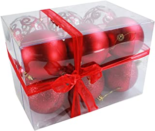 Sleetly Red Christmas Ornaments, Assorted, 3.15 inches, Set of 12