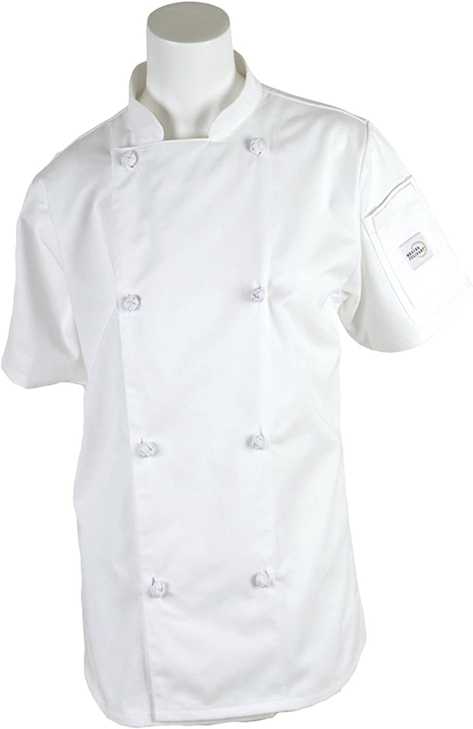 Mercer Culinary M61042WHM Genesis Women's Short Sleeve Chef Jacket with Cloth Knot Buttons, Medium, White