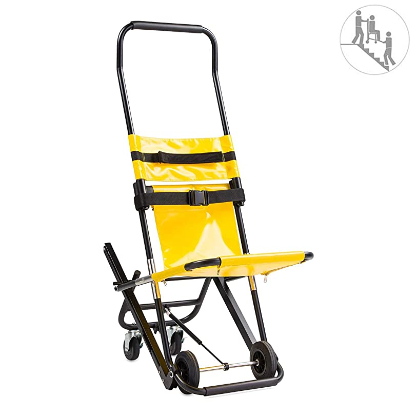静けさ誓い腐食する折りたたみ式追跡階段椅子4つの車輪を使ってアルミ製軽量医療補助器具クイックリリースバックル付き高齢者向け、障害者向け