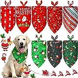 8 Pieces Christmas Dog Triangle Bandanas Pet Plaid Bibs Washable Santa Claus Bandanas Kerchief with Stylish Stocking Snowflake Deer Pattern for Pet Costume Accessories Decoration (Classic Pattern)