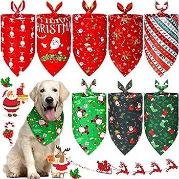 8 Pièces Bandanas Triangle Chien de Noël Bavoirs Triangle Réversible à Carreaux Foulard de Bandanas Lavable pour Chien du Père Noël avec Motif de Cerf Flocon de Neige Chaussettes(Motif Classique)