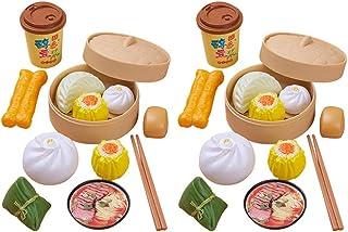 NUOBESTY 2 Set of 26Pcs Pretend Food Set Play Food Steamed Buns Mini Lifelike Chinese Breakfast Food Assortment Kitchen Ac...