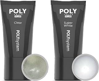 POLY ACRYLIC GEL Set Clear e Super White 2x 30g en el tubo - ACRYLIC GEL claro e Super bianco