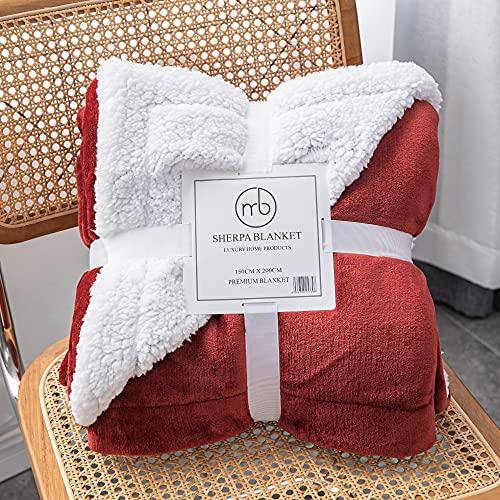 Mixibaby Hochwertige Wohndecken Kuscheldecken, extra Dicke warm Sofadecke/Couchdecke, Größe:150 cm x 200 cm, Farbe:Weinrot