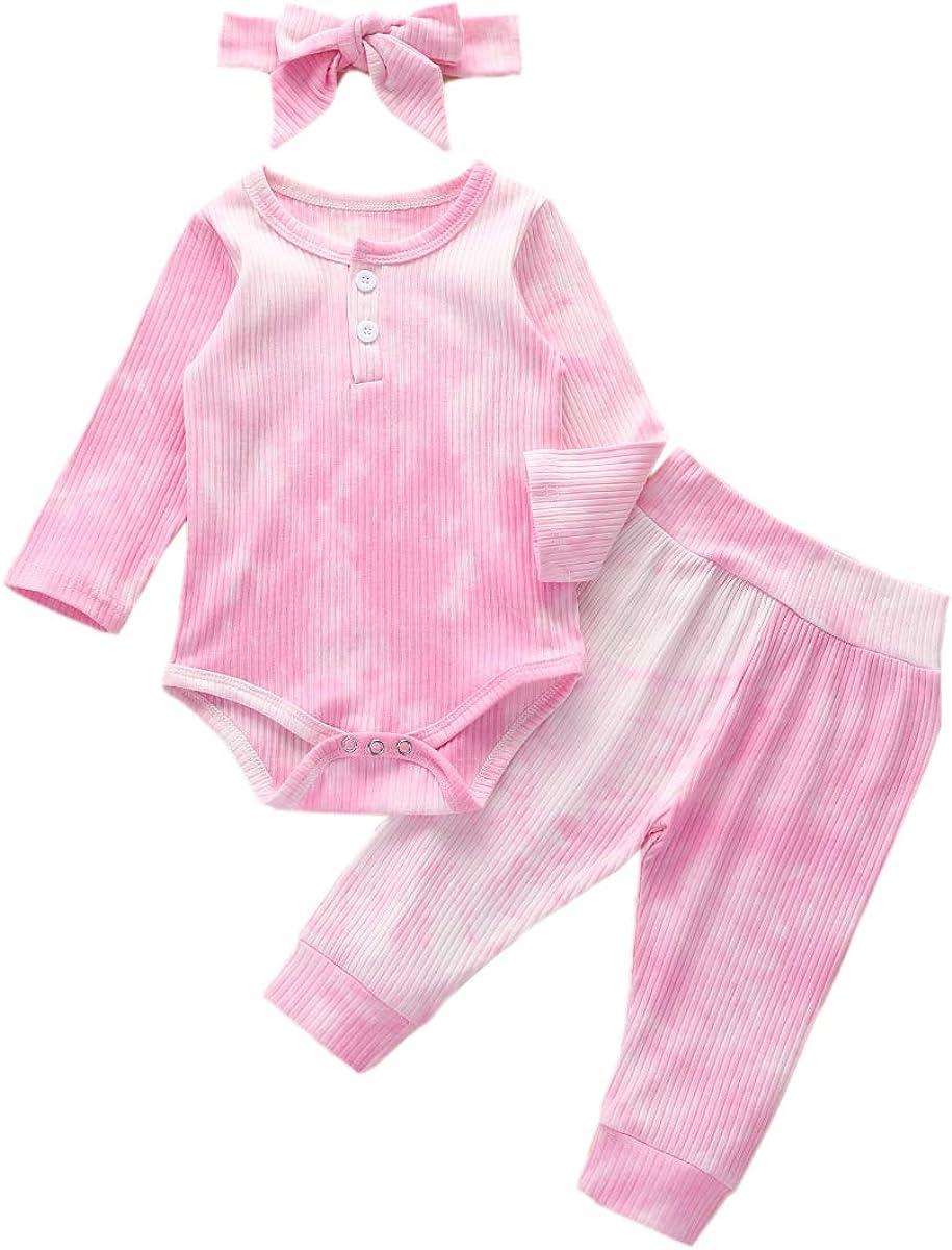 vivimodel 3Pc Baby Girl Tie-Dye Pajama Set Clothes Newborn Long Sleeve Romper Bodysuit + Pants + Headband Outfits Homewear