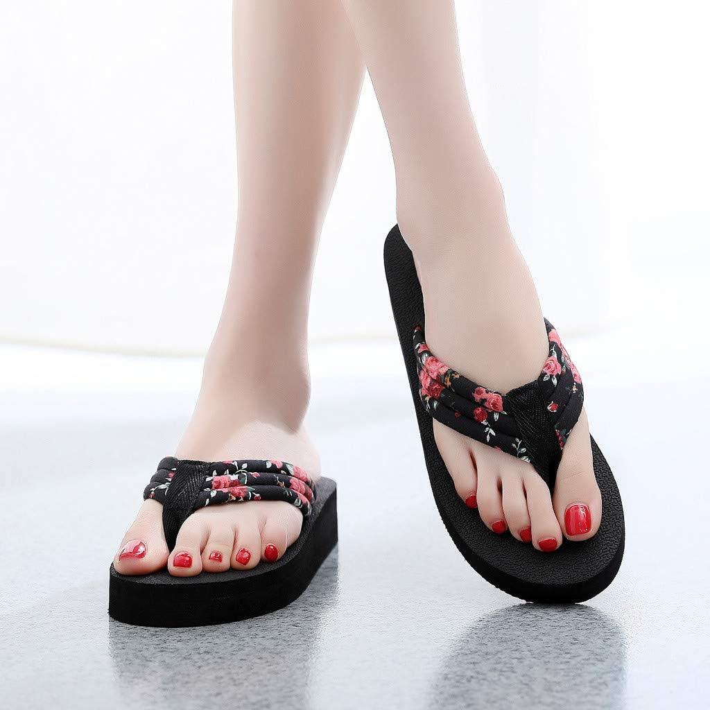 Bearbelly D/Ét/é Anti D/érapantes Femme Flip Flops /Ét/é Chaussures Antid/érapant Sandales Pantoufle Chaussons Platform Pantoufles de Bain Accueil