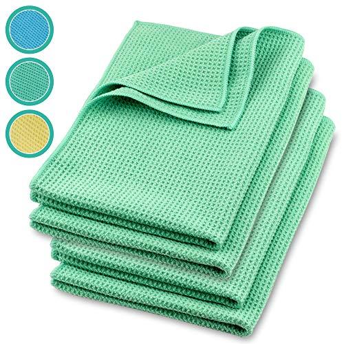 ELEXACLEAN Mikrofaser Trockentuch, Premium Waffeltuch (4 Stück, 60x40 cm, Grün) superweiche Qualität für Auto, Glas, Küche, Geschirr, Bad