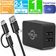 "Kindle Fire Fast Charger, 5V 2.4A AC Adapter for Amazon Kindle Fire HD, HDX 6"" 7"" 8.9"" 9.7"", Fire 7 8 10 Tablet and Phone, Dual Port USB Wall Charger with 5FT Micro-USB Cable and USB C 2 in 1 Cable"