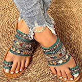 Mbswdd Women Sandals Summer Bohemia Style Toe Ring Slides Ladies Flat Slippers Casual Comfortable Beach Shoes Toe Ring Slides Flip Flops Beach Travel Sandals,A,41