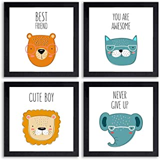 PnF® Set of 4 Motivational QUOTES-023-(28x28inch,Synthetic,Multicolour)