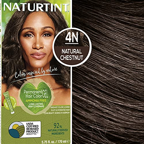 Naturtint Permanent Hair Color 4N Natural Chestnut (Pack of 6), Ammonia Free, Vegan, Cruelty Free,...