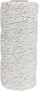 Just Artifacts ECO Bakers Twine 110-Yards 11Ply Striped Silver - Decorative Bakers Twine for DIY Crafts and Gift Wrapping