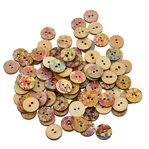 Souarts 15mm Pack of 200pcs Mixed Random Flower Round 2 Holes Wood Wooden Buttons for Sewing Crafting