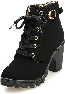 99a02cee3bca Kolylong Chaussures Femme, 2016 Hiver Talon Haut Talon épais Bottines à  Lacets Ladies Buckle Platform
