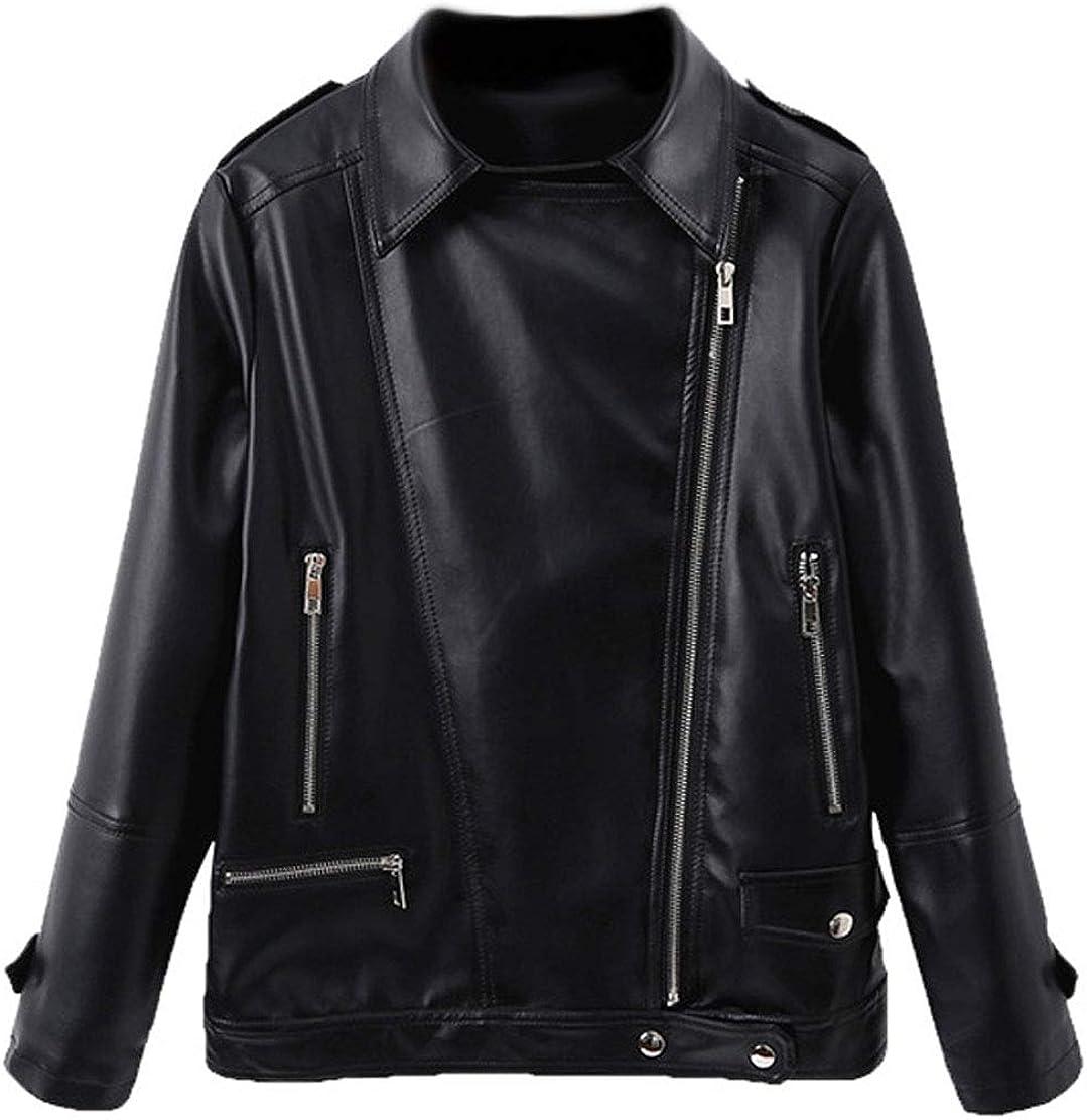 CHARTOU Womens Chic Spread Collar Oblique Zipper Loose PU Faux Leather Moto Biker Short Jacket