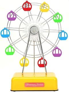 wosume Ferris Wheel Building Kit,Fashionable Plastic Ferris Wheel Model Battery Powered Music Box Children Gift, Home Desk Decoration Musical Gifts(Yellow)