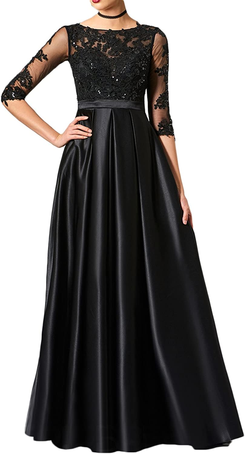 Udresses Womens Half Sleeve Lace Evening Dress ALine Satin Prom Party Gown VN23