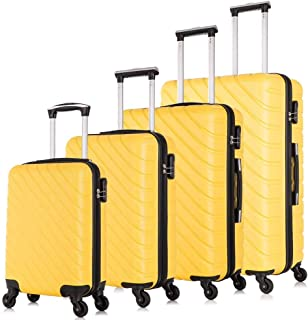 Apelila Hardshell Luggage ABS Luggages Sets With Spinner Wheels Hard Shell Spinner Carry On Suitcas (Yellow, 4 PCS)