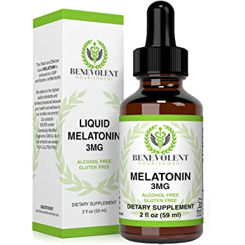 Benevolent Natural Melatonin Liquid 3mg - Nighttime Sleeping Aid for Adults Extra Strength, Raspberry and Vanilla Flavour, Effective Sleep Aid Sublingual Drops, Faster Absorption, Vegetarian, Non-GMO