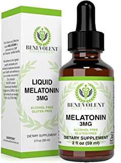 Benevolent Natural Melatonin Liquid 3mg - Nighttime Sleeping Aid for Adults Extra Strength, Raspberry and Vanilla Flavour,...
