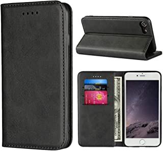 """Cavor for iPhone SE 2020 Case,iPhone 7 8 Case,Cowhide Pattern Leather Magnetic Wallet Case Cover with Card Slots(4.7"""")-Black"""