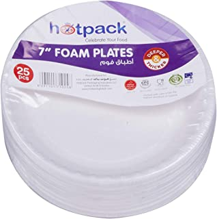 Hotpack Round Foam Plate 7 Inches, 25 Pieces