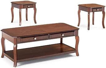 3-piece Occasional Table Set with Parquet Top Warm Light Bourbon