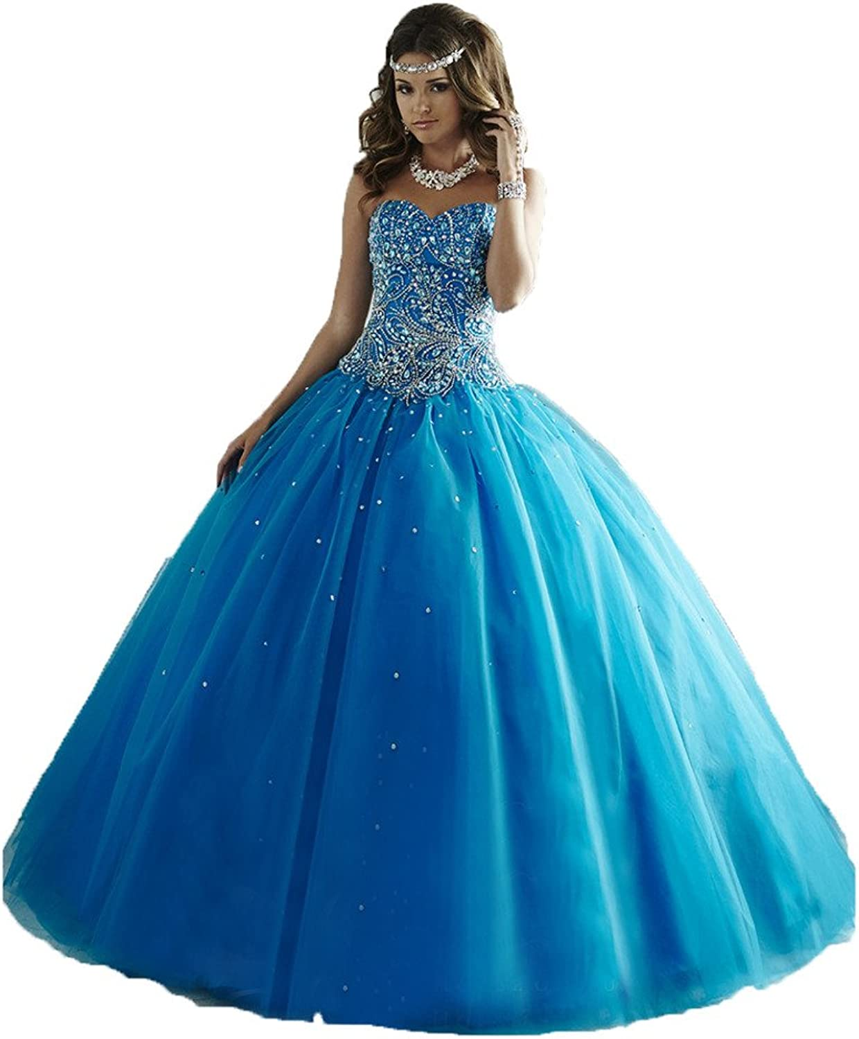 HSDJ Women's Ball Gowns Prom Sweert 16 Tulle Beaded Quinceanera Dresses