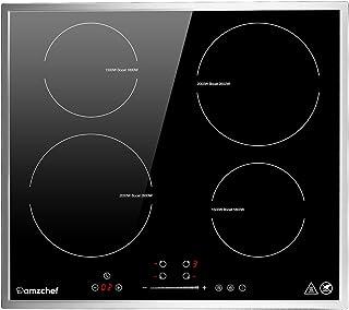 plaque de cuisson induction 4 foyers, AMZCHEF plaque à induction 7000W avec 9 niveaux de puissance,fonction boost, bordure...