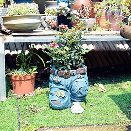 LKOPYUo Resin Planters, Retro Denim Pants Flower Pot, With Bird Nest for Garden Yard Outdoor Decor Indoor Home Office Table Desk Decor Funny Birthday Gift (Color : A)