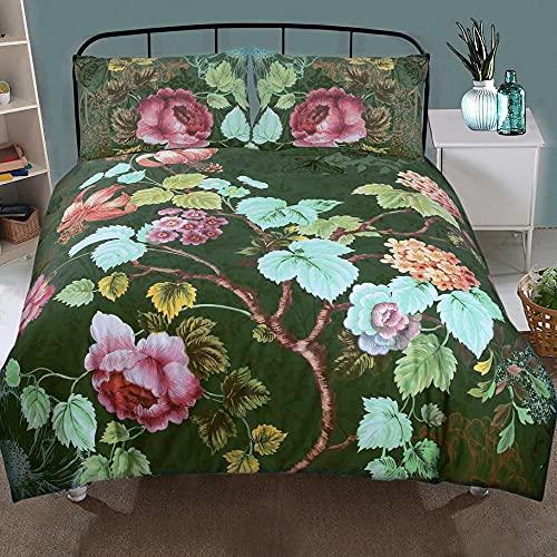 Nimsay Home Norah - Set copripiumino per letto matrimoniale, 100% cotone, stile vintage, motivo floreale, colore: Verde