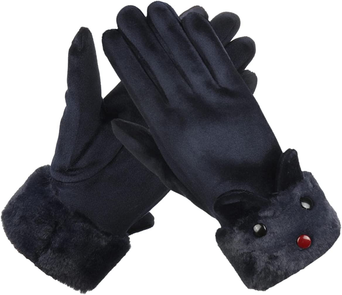 Lupovin-Keep Warm Winter Ardent Women Gloves Outside Sport Touch Screen Windproof Full-Finger Gloves Non-Slip (Color : Dark Blue)