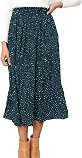 2b4845f03a Naggoo Womens Casual Front Button A-Line Skirts High Waisted Midi Skirt  with Pockets