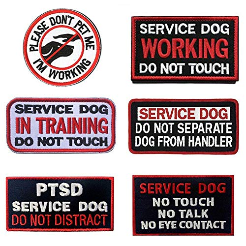 SOUTHYU 6 Pack Service Dog Patches with Hook & Loop Backing - Embroidered Tactical Military Morale Patch Badge - Service Dog Working in Training Do Not Touch Tags for Pet Harness Vest