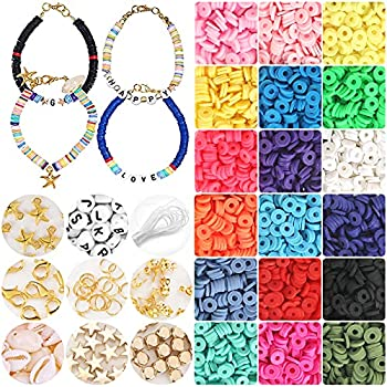 4800+ Pcs Polymer Clay Spacer Beads 6mm Flat Round Heishi Beads Handmade Colorful Beads Set for DIY Jewellery Earring Necklace Bracelet Craft Making with 120 Pcs Letter Round Beads A-Z