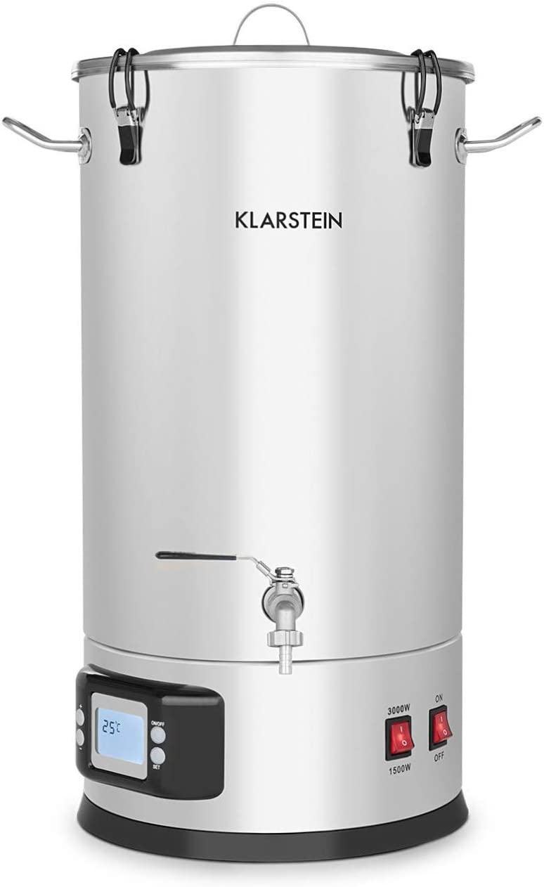 Klarstein Maischfest, Beer Brewing Device, Mash Tun, 5-Piece Set, 1000 and 1600 Watts Power, LCD Display and Touch Control Panel, Temperature, Stainless Steel, 35 Litres / 9.2 gallons
