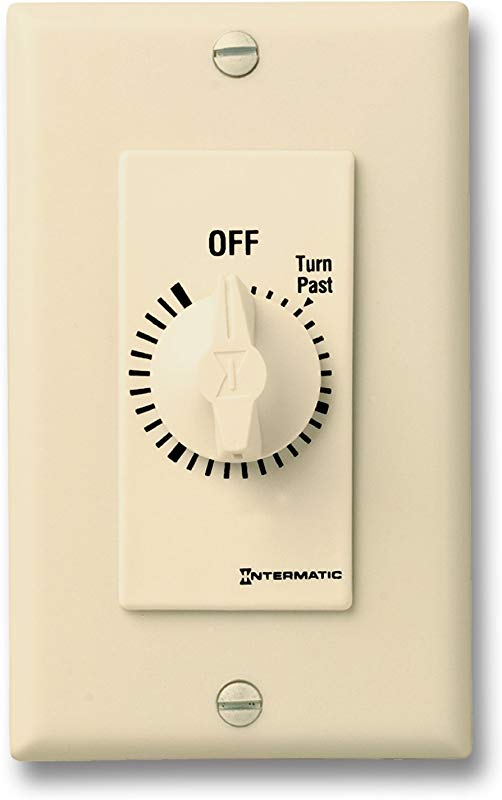 Intermatic FD6HH 6 Hour Spring Loaded In Wall Countdown Timer For Fans And Lights Ivory