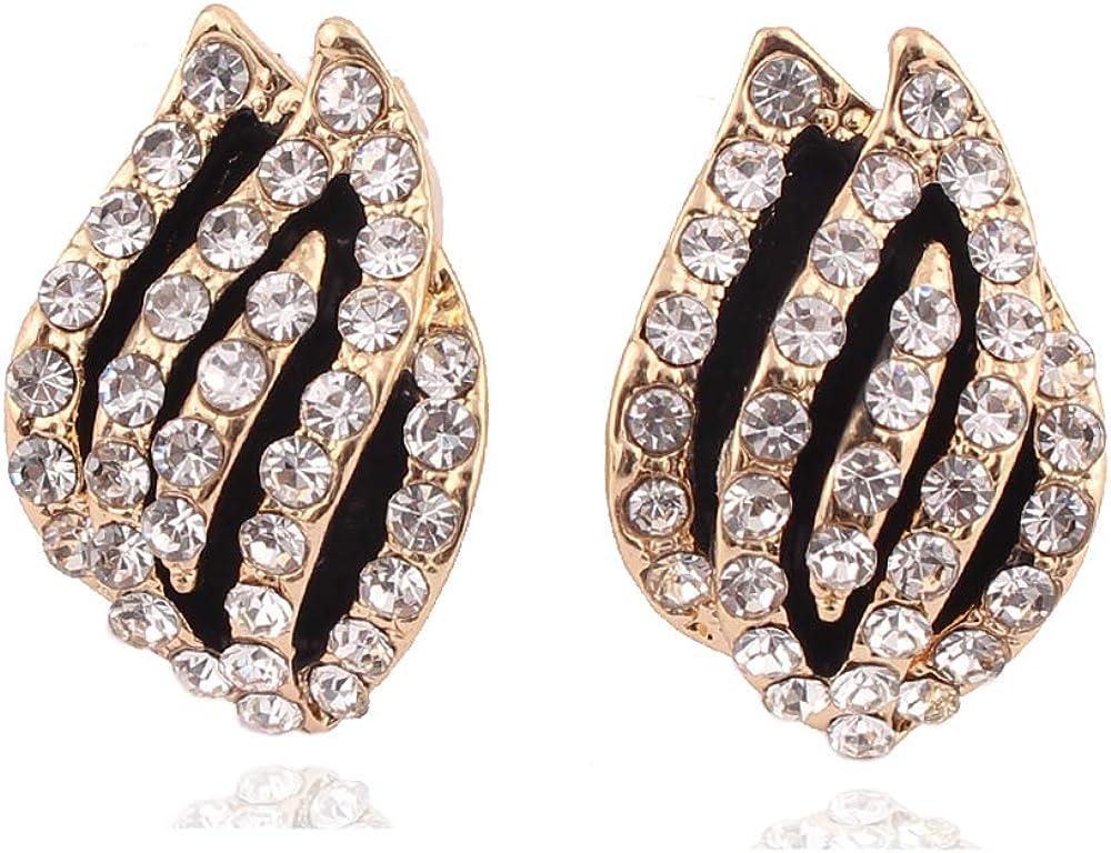 HAPPYAN Vintage Black Enamel Rhinestone Clip on Earrings No Pierced for Women Gold Color Cuff Earrings Bijouterie