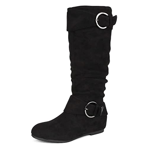 f5cc7677f36 DREAM PAIRS Women s Knee High Low Hidden Wedge Boots (Wide-Calf)
