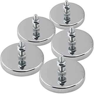 """Master Magnetics Round Base Magnet - Magnetic Fastener/Magnets with Holes, 2.04"""" Diameter, 1.25"""" Total Height, Holds 35 Pounds (Box of 5) RB50B3NX5"""