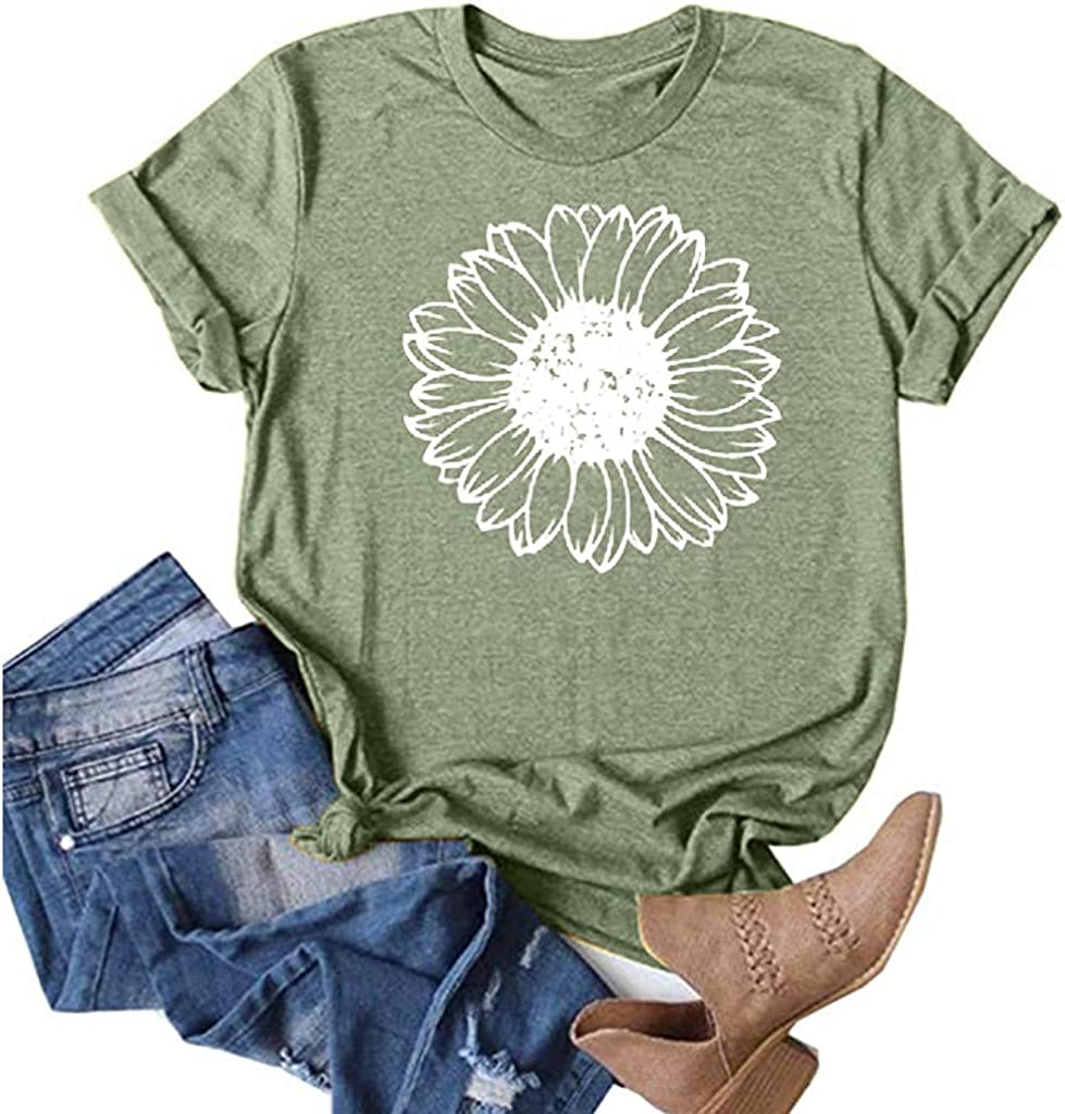 FUNEY Summer Tops for Women Casual Short Sleeve Loose Fit Sunflower Graphic Tees Workout Shirts Vintage Shirts Blouses