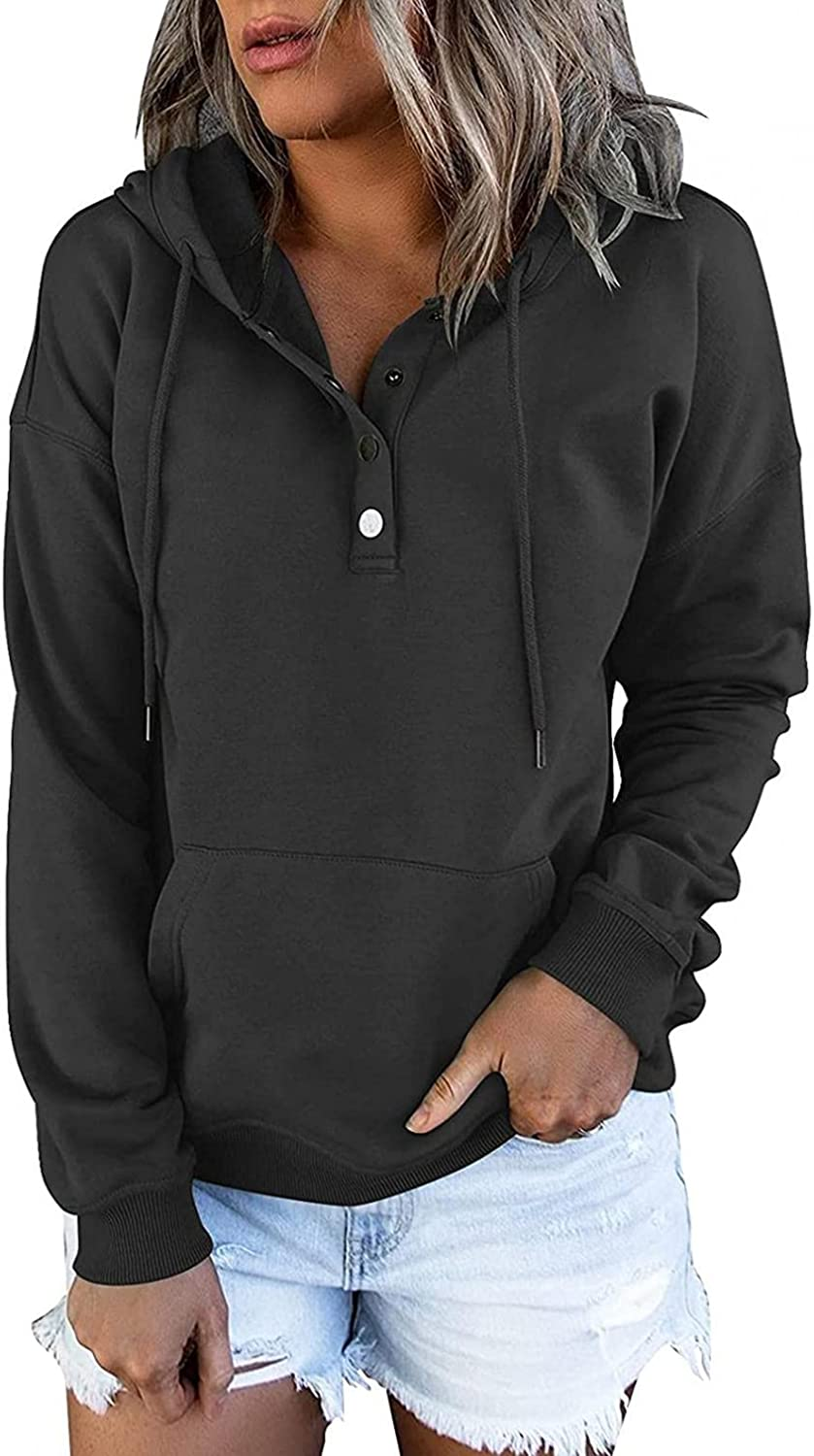 felwors Hoodies for Women, Womens Color Block Pullover Hoodies Loose Button Down Long Sleeve Sweatshirts with Pockets