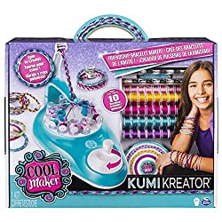 EASILY SPIN TO CREATE: The Cool MAKER KumiKreator is a breakthrough bracelet maker; it makes it so easy to create friendship bracelets without a single knot needed! Choose a bracelet design, load the machine with the colorful spools and spin to creat...